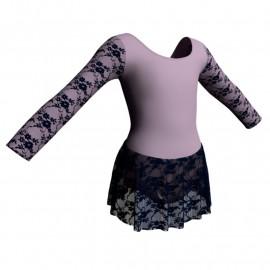 Body danza maniche lunghe con inserto belen pro e gonnellino in pizzo SK1LBP405T
