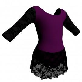 Body danza maniche 3/4 con inserto belen pro e gonnellino in pizzo SK1LBP406T