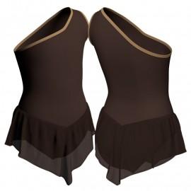 Body danza con gonnellino in chiffon monospalla SK714LCC1020