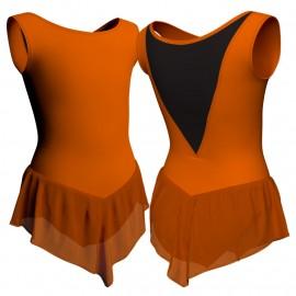 Body danza con gonnellino in chiffon senza maniche e inserto SK714LCC1003