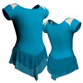 Body danza con gonnellino in chiffon maniche aletta e inserto SK714LCC1004