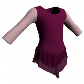 Body danza con gonnellino in chiffon maniche lunghe e inserto SK714LCC102