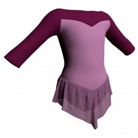 Body danza con gonnellino in chiffon maniche 3/4 e inserto SK714LCC105