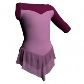 Body danza con gonnellino in chiffon monospalla e inserto SK714LCC105SST