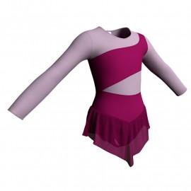 Body danza con gonnellino in chiffon maniche lunghe e inserto SK714LCC108