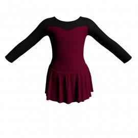 Body danza con gonnellino maniche lunghe e inserto SK1LCL1019