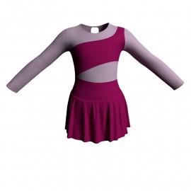 Body danza con gonnellino maniche lunghe e inserto SK1LCL108