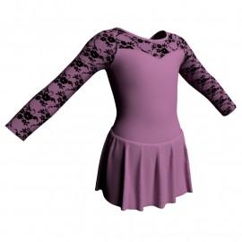 Body danza maniche lunghe con inserto belen pro e gonnellino SK1LBL1019