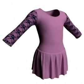 Body danza maniche lunghe con inserto belen pro e gonnellino SK1LBL102