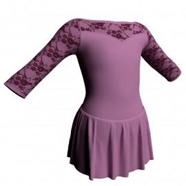 Body danza maniche 3/4 con inserto belen pro e gonnellino SK1LBL105