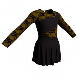 Body danza maniche lunghe con inserto belen pro e gonnellino SK1LBL108