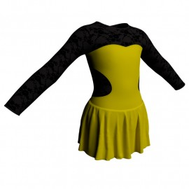 Body danza maniche lunghe con inserto belen pro e gonnellino SK1LBL110