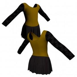 Body danza maniche lunghe con inserto belen pro e gonnellino SK1LBL405T