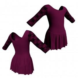 Body danza maniche 3/4 con inserto belen pro e gonnellino SK1LBL406T