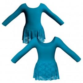 Body danza gonnellino in pizzo maniche lunghe SK1LCP405