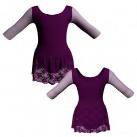 Body danza gonnellino in pizzo maniche 3/4 con inserto SK1LCP406T