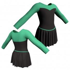 Body danza con gonnellino maniche lunghe e inserto SK2LCL1019