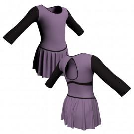 Body danza con gonnellino maniche lunghe e inserto SK2LCL102