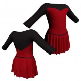 Body danza con gonnellino maniche 3/4 e inserto SK2LCL105