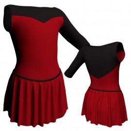 Body danza con gonnellino monospalla e inserto SK2LCL105SST
