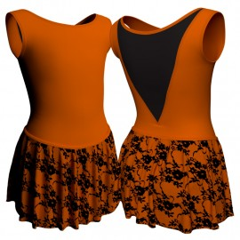 Body danza con gonnellino in belen pro senza maniche e inserto SK2LCB1003