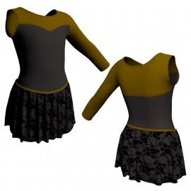 Body danza con gonnellino in belen pro monospalla e inserto SK2LCB1019SST