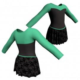 Body danza con gonnellino in belen pro maniche lunghe e inserto SK2LCB1019