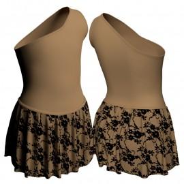 Body danza con gonnellino in belen pro monospalla SK2LCB1020