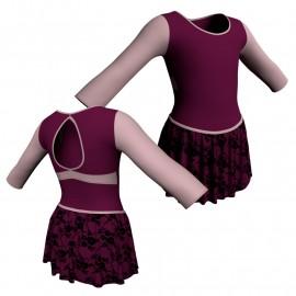 Body danza con gonnellino in belen pro maniche lunghe e inserto SK2LCB102
