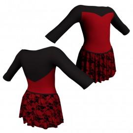 Body danza con gonnellino in belen pro maniche 3/4 e inserto SK2LCB105