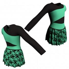 Body danza con gonnellino in belen pro monospalla e inserto SK2LCB108SS