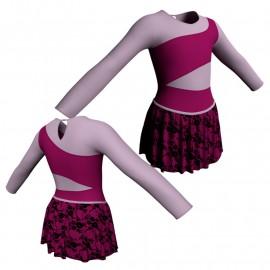 Body danza con gonnellino in belen pro maniche lunghe e inserto SK2LCB108