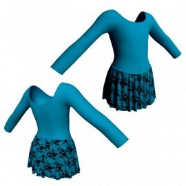 Body danza con gonnellino in belen pro maniche lunghe SK2LCB405