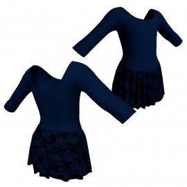 Body danza con gonnellino in belen pro maniche 3/4 SK2LCB406