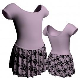 Body danza con gonnellino in belen pro maniche aletta SK2LCB408
