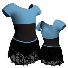 Body danza con gonnellino in pizzo maniche aletta e inserto SK2LCP231