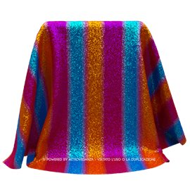 Lycra Rainbow Sparkle | Colore LM637 - Fuxia/Blue/Arancio