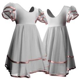 Vestito Danza Classica per Saggi di Danza - 2807 | Bianco/Nastri di Raso Rosa Chiaro