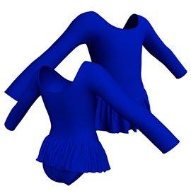 Body Danza Manica Lunga con Gonna B441 - Lycra Oltremare