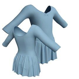 Body Danza Manica 3/4 con Gonna B444PR - Cotone Celeste