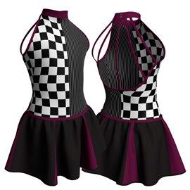 Modern Dance Costume with Short Skirt - C2120 Marins
