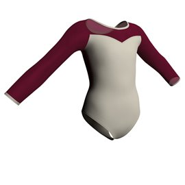 Long Sleeve Mesh Upper  Bodice Leotard