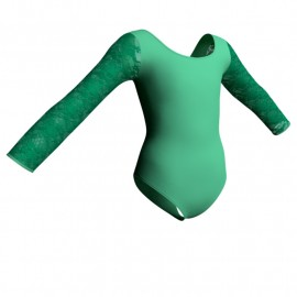 Body danza maniche lunghe con inserto in rete o pizzo PLP405T