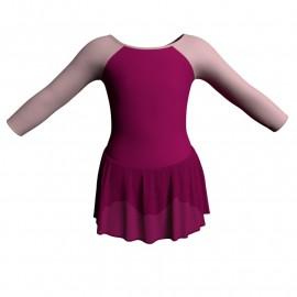 Body danza maniche lunghe con inserto e gonnellino SK1LCC205