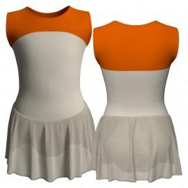 Body danza senza maniche con inserto e gonnellino SK1LCC219