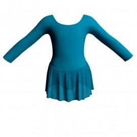 Body danza maniche lunghe con gonnellino SK1LCC405