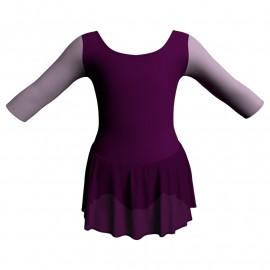 Body danza maniche 3/4 con inserto e gonnellino SK1LCC406T