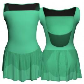 Body danza senza maniche con inserto in rete o pizzo e gonnellino in chiffon SK1LPC1002