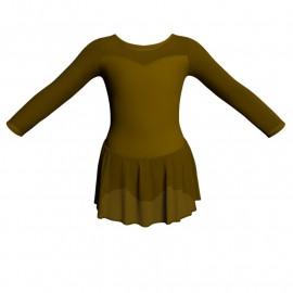 Body danza maniche lunghe con inserto in rete o pizzo e gonnellino in chiffon SK1LPC1019