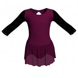 Body danza maniche lunghe con inserto in rete o pizzo e gonnellino in chiffon SK1LPC102